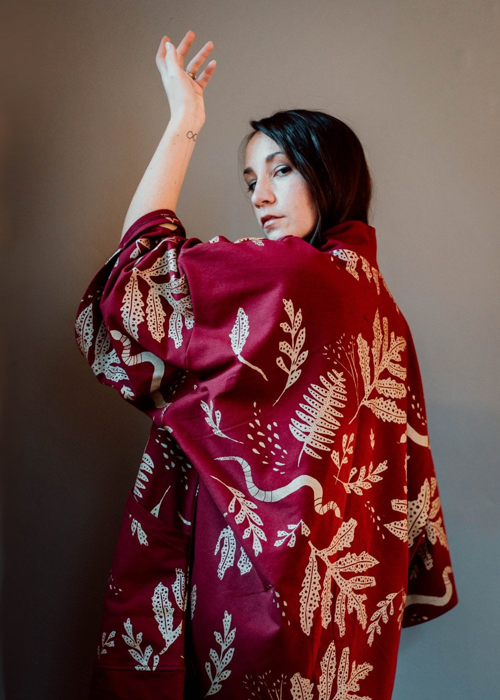 The Tapestry Tunic - Mulled Wine - Oversized Robe Cardigan in Metallic Gold