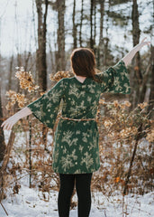 Skadi Dress- In Pine and Metallic Gold - w/ pockets