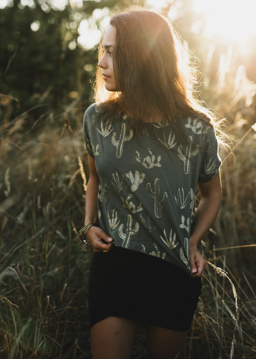 Golden Cactus in Soft Sage - American Milled Fabric - Box Cropped tshirt