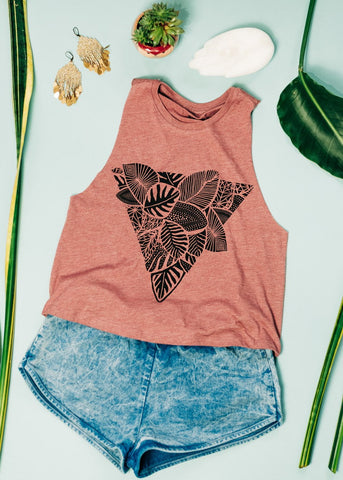 Palm Triangle - cropped racerback tank in sorbet