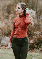 Fall Opulence - organic turtleneck top - in potters clay and heme