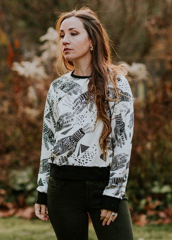 Oracle Raglan - Organic Oversized Raglan top in Birch