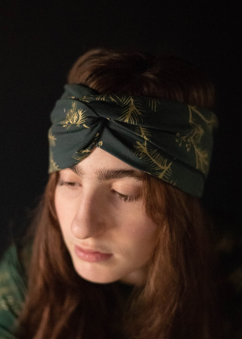 Skadi Turban - Organic - Spruce and Metallic Gold