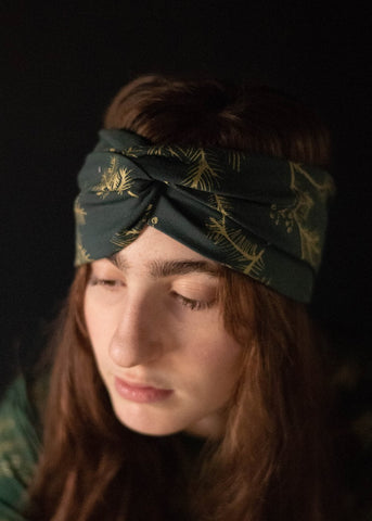 Hawk Moth Turban - Organic - Black and Metallic Gold