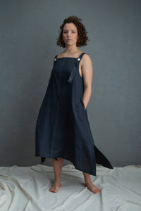 Dark Denim Apron Dress