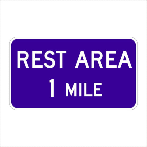 D5-1 REST AREA SPECIFY MILE SIGN