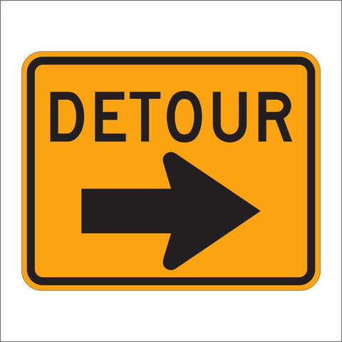M4-9 DETOUR WITH ARROW SIGN