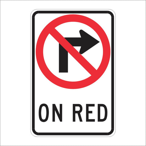 R13A (CA) NO RIGHT TURN ON RED (SYMBOL) SIGN