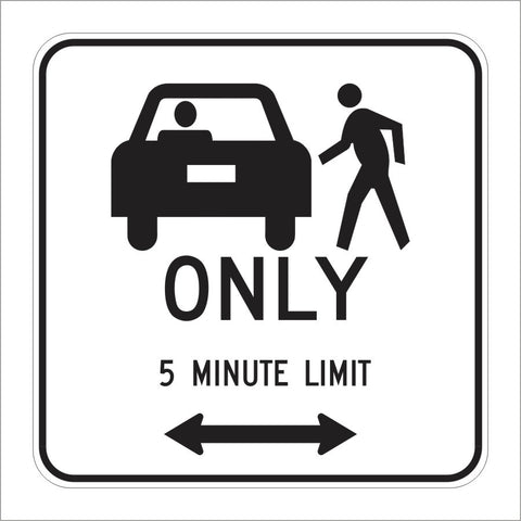 R25B (CA) PASSENGER LOADING 5 MINUTE LIMIT (SYMBOL) SIGN