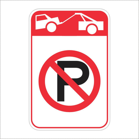 R26K (CA) NO PARKING TOW-AWAY (SYMBOL) SIGN