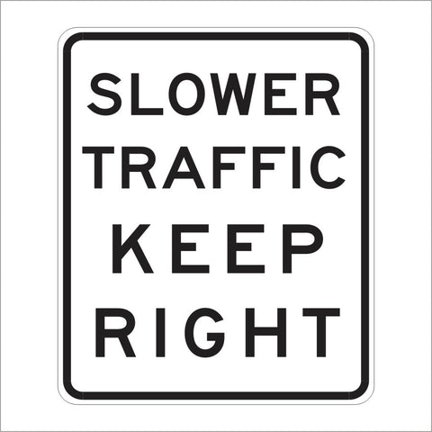 R3-4 SLOWER TRAFFIC KEEP RIGHT SIGN