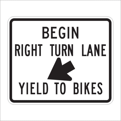 R4-4 BEGIN RIGHT TURN LANE YEILD TO BIKES SIGN
