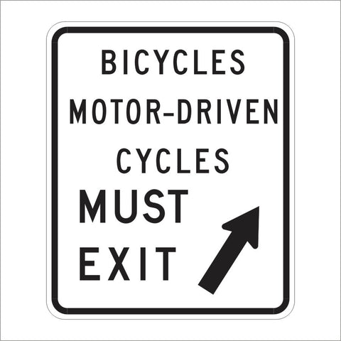 R44B (CA) BICYCLES MOTOR-DRIVEN CYCLES MUST EXIT SIGN