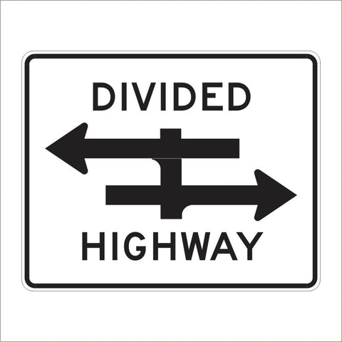 R6-3 DIVIDED HIGHWAY CROSSING SIGN