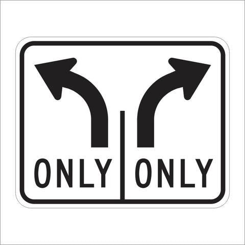 R61-19 (CA) DOUBLE LANE CONTROL RIGHT AND LEFT TURN (SYMBOL) SIGN