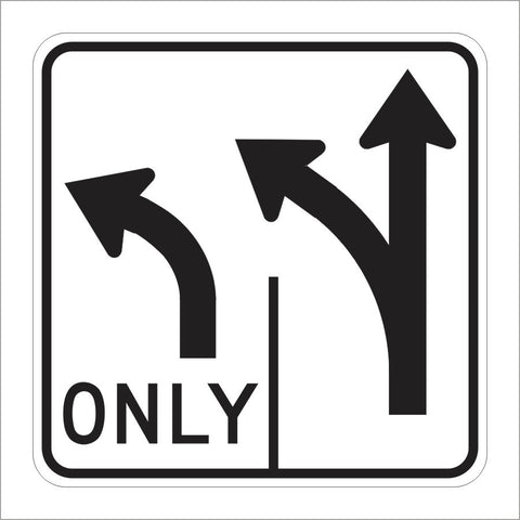 R61-1 (CA) DOUBLE LANE CONTROL LEFT TURN ONLY (SYMBOL) SIGN