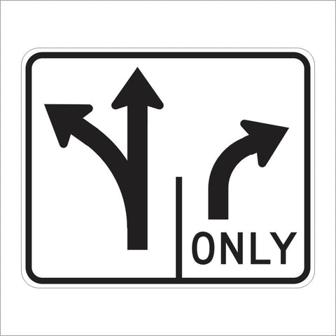 R61-7 (CA) DOUBLE LANE CONTROL RIGHT TURN ONLY (SYMBOL) SIGN