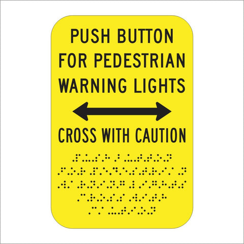 R62E (CA) PUSH BUTTON FOR PEDESTRIAN WARNING LIGHTS CROSS WITH CAUTION SIGN