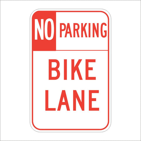 R7-9 NO PARKING BIKE LANE SIGN