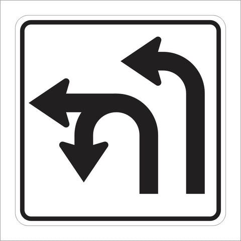 R73-5 (CA) DOUBLE LANE LEFT TURN OR U-TURN SIGN