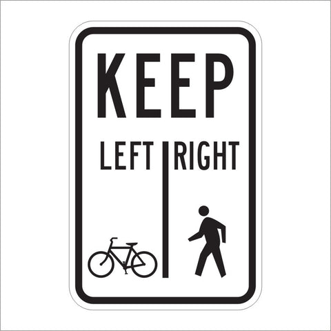 R9-7 SHARED- USE PATH RESTRICTION (BIKES LEFT/ PEDS RIGHT) SIGN