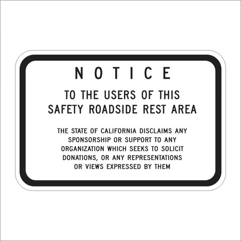 SR2 (CA) REST AREA DISCLAIMER SIGN