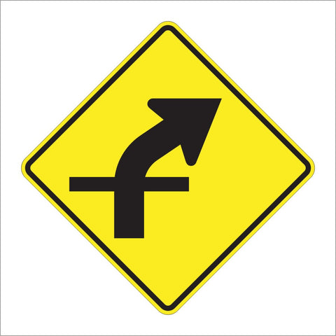 W1-10A CURVE WITH CROSS INTERSECTION (SYMBOL) SIGN