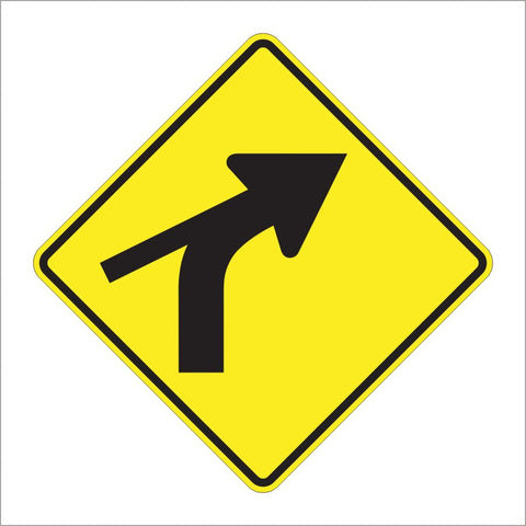 W1-10C COMBINATION HORIZONTAL ALIGNMENT (CURVE) SKEWED SIDE ROAD SIGN