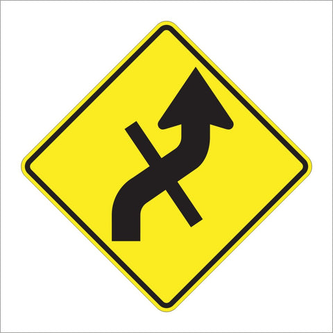 W1-10E COMBINATION HORIZONTAL ALIGNMENT (REVERSE CURVE)/CROSS SIGN