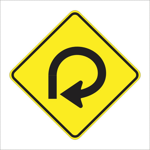W1-15 270 DEGREE TURN SIGN