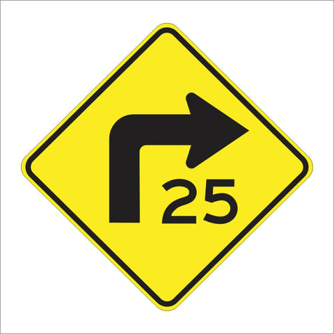 W1-1A TURN WITH A MPH SIGN
