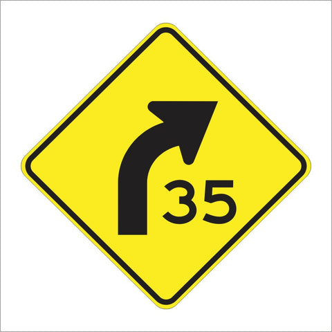 W1-2A CURVE SYMBOLS W/ ADVISORY SPEED SIGN