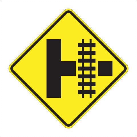 W10-3 PARALLEL RAILROAD CROSSING (SIDE ROAD) SIGN