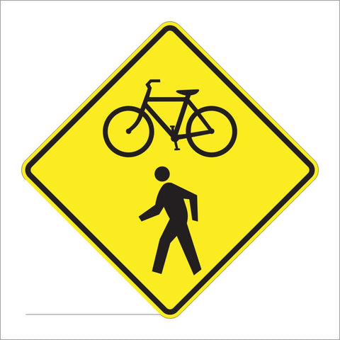 W11-15 COMBINATION BIKE AND PED CROSSING SIGN