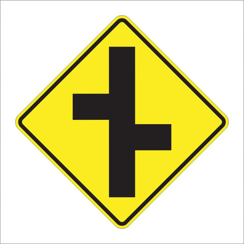 W2-7R RIGHT OFFSET SIDE ROADS SYMBOL SIGN
