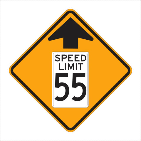 W3-5 SPEED REDUCTION AHEAD SIGN