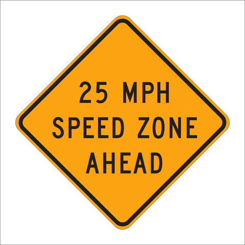 W3-5A 25 MPH SPEED ZONE AHEAD SIGN