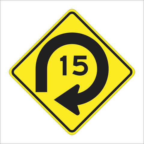 W4-14 (CA) COMBINATION TURN WITH ADVISORY SPEED SIGN