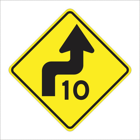 W4-1 (CA) COMBINATION TURN AND SPEED SYMBOL SIGN