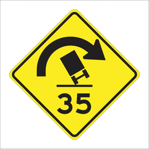 W4-22 (CA) CURVE TRUCK ROLLOVER WITH ADVISORY SPEED SIGN