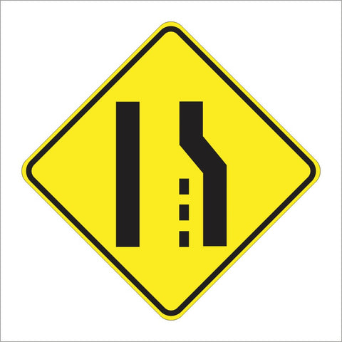 W4-2 LANE ENDS SYMBOL SIGN