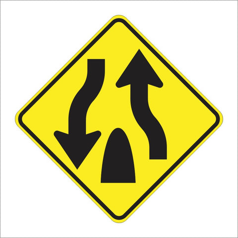 W6-2 DIVIDED HIGHWAY ENDS SYMBOL SIGN