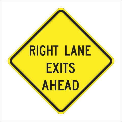 W73 (CA) RIGHT LANE EXITS AHEAD SIGN