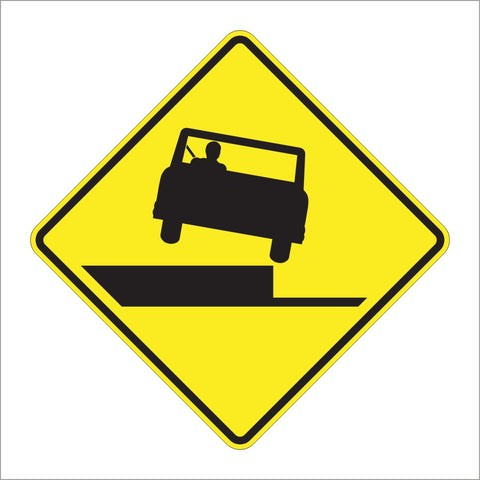 W8-17 SHOULDER DROP OFF SIGN