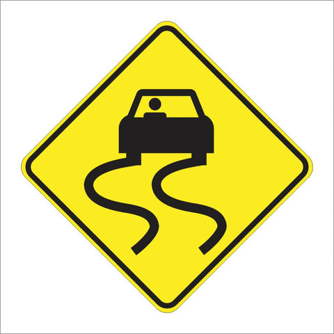 W8-5 SLIPPERY WHEN WET SIGN