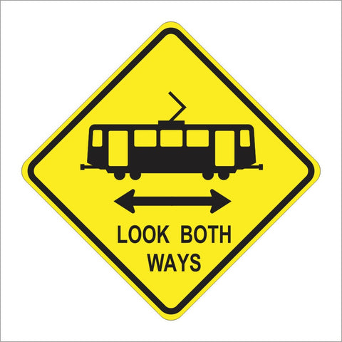W82-1 (CA)LIGHT RAIL TRANSIT CORSSING LOOK BOTH WAYS SIGN