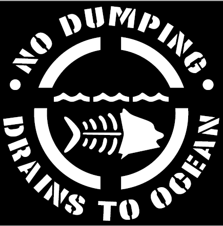 "8"" No Dumping - Drains to Ocean Stencil"