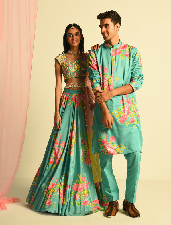 The Candy Shop- Naina Batra in Blueberry Lehenga and Kurta Couple Set