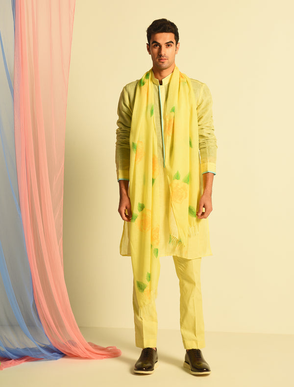 The Candy Shop- Lemon Yellow kurta set with printed stole
