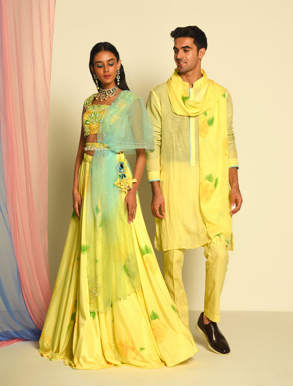 The Candy Shop- Lemon Lehenga and Kurta Couple Set